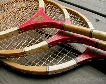 Vintage Badminton Wood Rackets|  Set of 3 Red Badmitton Racquets | Retro Outdoor Sports | Summer Cottage | Wall Decor