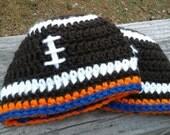 Newborn Denver Bronco's Football Beanie Hat,  Boys or Girls Design.  Custom order also available all sizes.