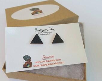 Geometric earrings, Wood earrings, Handpainted wood  earrings, Hand painted wood earrings, Minimalist, Minimal earrings, Stud earrings, Wood