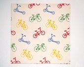 Vintage 1980's Bicycle Scooter Wrapping Paper Gift Wrap Red Green Yellow Primary Colors