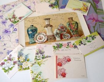 Vintage Floral Ephemera Paper Pack   Purple Flowers Inspiration Scrapbooking Kit