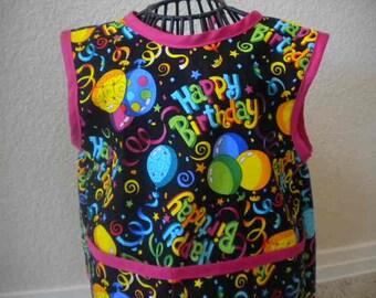 Happy Birthday Toddler Smock, Apron, Bib, With Berry Pink Bias Trim. Size 1t-2t