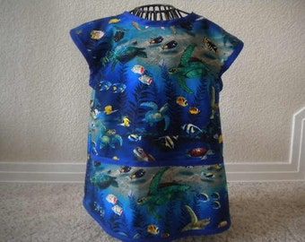 Toddler Under The Sea Art Smock, Apron, With Royal Blue Bias Trim. Size 4t-5t