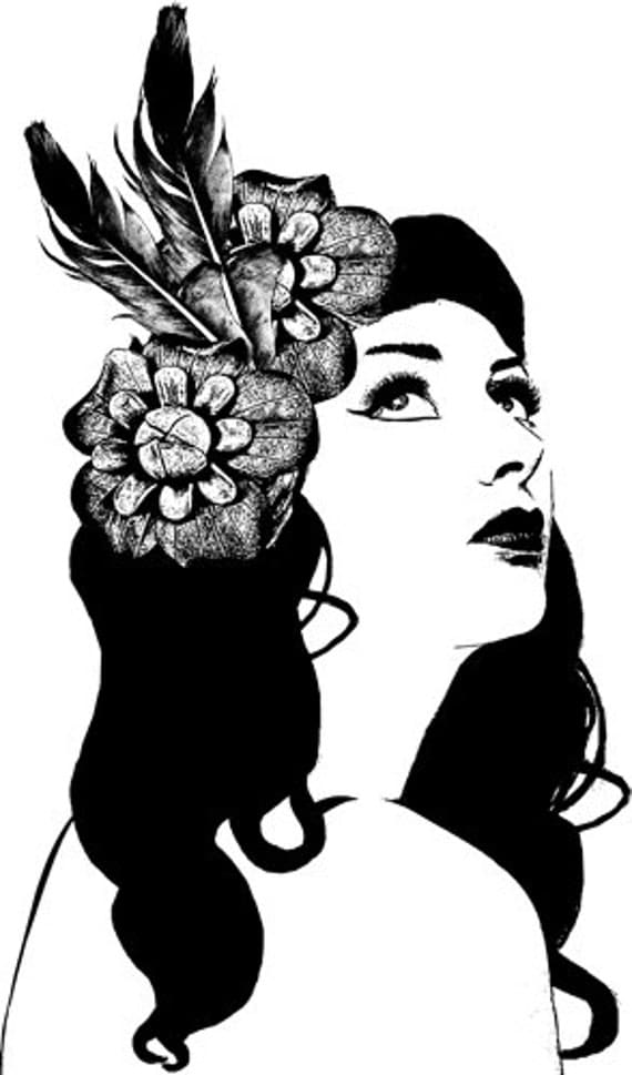 """woman flower hair Printable wall art Digital downloads graphics Images beauty fashion original illustrations black and white 9.4"""" x 15.9"""""""