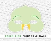 Green Bird Mask   Printable Animal Mask   Bird Mask   Party Props