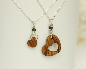 Mixed brown Polymer Clay Mother - Daughter Necklace Set