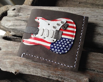 New!!! Men Wallet Stratocaster Guitar : Flag of the United States!
