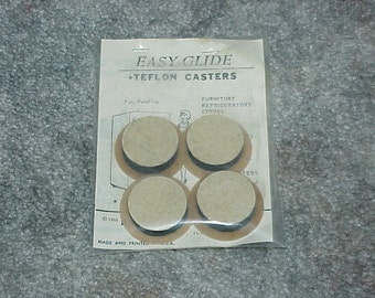 Vintage--1966--Easy Glide Teflon Casters--New Old Stock--Sealed--Born Manufacturing Co.