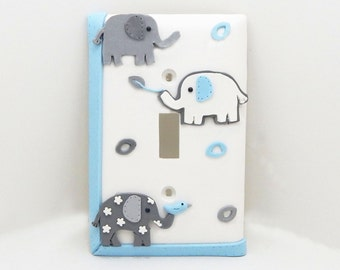 Elephant Light Switch Cover Gray, Blue, and White - Children's, Nursery, Toddler's Lightswitch or Outlet Cover