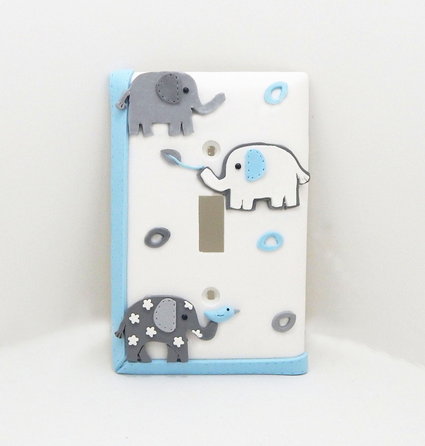 Elephant Light Switch Cover Or Outlet Cover Gray Blue