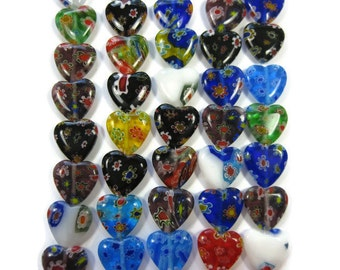 12mm Millefiori Heart Beads set of 50 in Assorted Colors