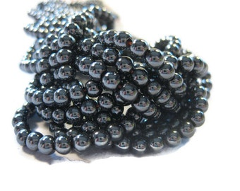 4 mm Round Non Magnetic Hematite Beads 50 Pieces