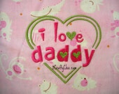 I Love Daddy Embroidered Bib with Velcro Closure for Babies and Toddlers