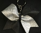 Cheerleader Black & Silver Glitter Cheer Bow Key Chain