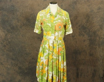 48 Hr SALE vintage 60s Dress - 1960s Citrus Garden Floral Day Dress Sz M