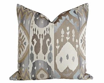 cream blue grey pillow covers grey ikat pillows pillows taupe throw pillow