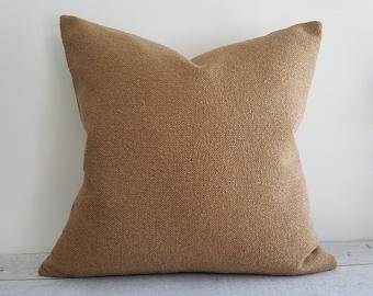 Textured Tan Pillow Covers, Solid Tan Throw Pillow, Mens Sofa Pillows, Man Cave Pillows, Autumn Home Decor, 12x18 Lumbar, 18x18, 20x20, NEW