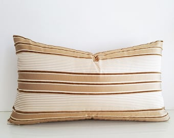 Gold Striped Pillow Covers, Cream Gold Lumbar Pillows, Cream Gold Cushion, Gold Decorative Pillows, Metallic Pillow, 12x20, PillowThrowDecor