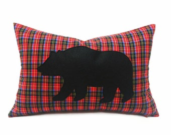 Appliqued Bear Pillow Cover, Red Plaid Black Bear Cushion Cover, Animal Pillows, Rustic Woodland Chic Decor, Unique Gift, Lumbar