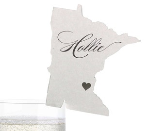 Minnesota Place Cards - State Silhouette seating cards - with optional custom location heart cutout