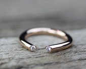 Open Diamond Gold Engagement Ring 14K Gold, Alternative Wedding Band, Diamond Ring, Boho Diamond Ring, Luxury Jewelry, Romantic Gift for Her