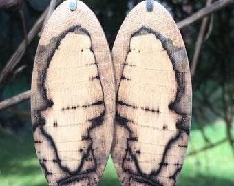 Ecowear Wood Reclaimed Spalted Hackberry Resin Infused Lightweight Amazing Earrings