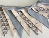 Sale Scandi Christmas bunting in light grey - 12 flag Fabric bunting grey binding tape