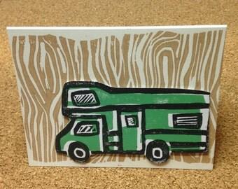 Happy Camper, Block Printed, Linocut - Greeting Card