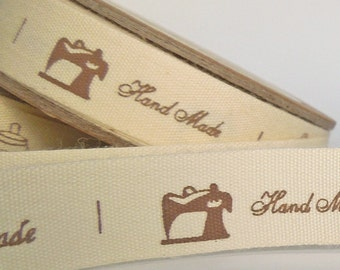 15 mm Handmade Word and Pictures Cotton Ribbon, 5/8 inch Handmade Words and Icons Printed in Brown on Natural Cotton Tape