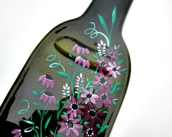 Melted Wine Bottle Serving Tray, Cheese Tray,  Spoon Rest, Kitchen Trivet,  Green Wine Bottle Hand Painted with Shades of Maroon Flowers