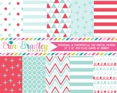 Red and Aqua Blue Digital Paper Pack, Personal & Commercial Use Digital Scrapbook Paper Pack