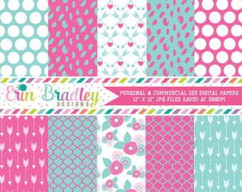 Pink and Blue Digital Paper Pack Spotty Dots Polka Dots Arrow and Floral Patterns Commercial Use Digital Scrapbook Paper Pack