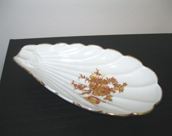 Vintage Limoges France Gold Roses Shell Spoon Rest Soap Dish Relish Plate