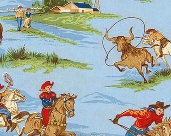 Ride 'em Cowboy Blue  Scenic Western Cotton Fabric by Robert Kaufman