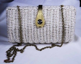 1960s summer white wicker purse with chain strap shipping included within Canada and U.S.A