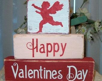 Primitive Shelf Blocks Happy Valentine's Day Decor Wooden Blocks Cupid Shabby