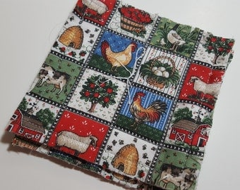 Fabric Drink Coaster set in Country farm print,  reversible, Set of four / Hostess gift / drink barware