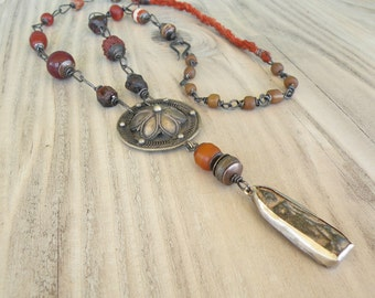 Rustic Buddha Necklace, Long Beaded Chain, Maroon and Rust, Earthy Bohemian, Handmade, Fall Jewelry