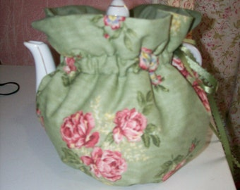 Green with Pink Flower Tea Pot Cozy Insulated and Reversible