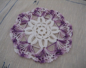 Hand crochet, fabulous  coaster doilies, set of 2, shaded purple , new, ready to mail