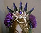Mermaid Crown Headpiece OCEAN ROYALTY Shells Seaweed Purple Undersea Queen Sparkle Green Long Tendrils Sides and Back Vintage Pearls Drape