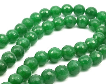 Green Jade 10 mm Disco Faceted Gemstone Round Beads Full Strand 15.5 inches
