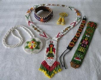 Vintage LOT Native American Southwestern 6 Piece SEED BEAD Lot Medallion & Sash Necklace-3 Bracelets-Moccasin Pin