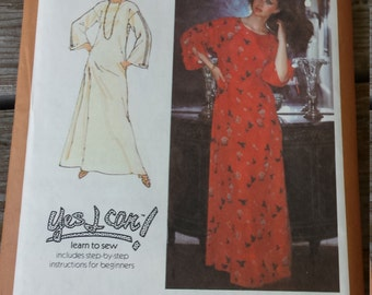 1970's Simplicity Ladies / Misses'  Caftan Learn to Sew Pattern 8743 Size 18 Uncut