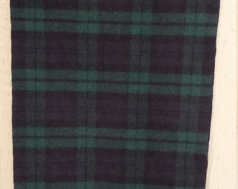 Blue and Green Plaid Pendleton Wool Scarf Black Tartan