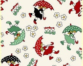 Maywood Studio Walk in the Park rainy day FABRIC 8810-R 100% cotton by the yard 1930's repro Feedsack kids | quilt cotton | red green black