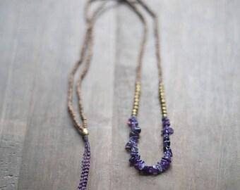 ON SALE Mixed Media Boho Necklace /  Dark Purple Necklace /  Gemstone Necklace / Amethyst Necklace