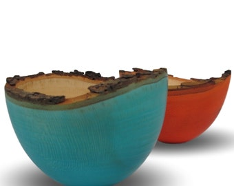 Beautiful Blue and October Orange - Sycamore Bowls