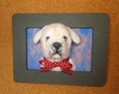 Bulldog Framed Needle-Felted Portrait