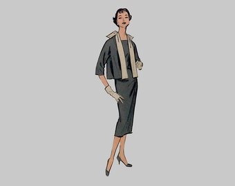 1958 Dress/Blouse/Jacket pattern, Advance 8591, American Designer, Original Design by Edith Head of Paramount Studios in Hollywood/Bust 34